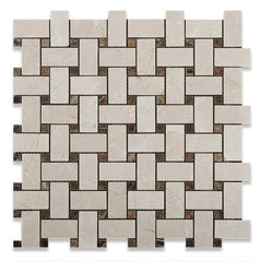 Crema Marfil Basketweave Mosaic with Emperador Dark Dots Polished Stone Tilezz