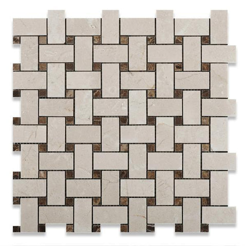 Crema Marfil Basketweave Mosaic with Emperador Dark Dots Polished or Honed