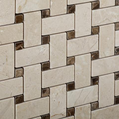 Crema Marfil Basketweave Mosaic with Emperador Dark Dots Polished
