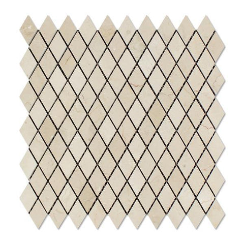 Crema Marfil Polished Diamond Mosaic Tile Stone Tilezz