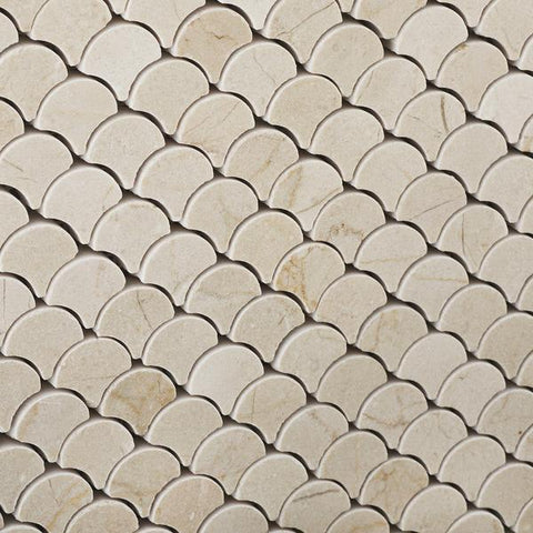 Crema Marfil Scallop Mosaic Tile Polished Stone Tilezz