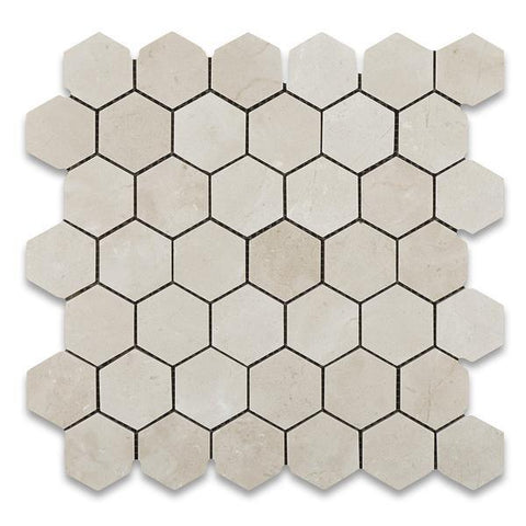 "Crema Marfil 2"" Hexagon Mosaic Tile Polished Stone Tilezz"