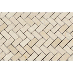 Crema Marfil Mini Herringbone Tile Polished