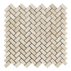 Crema Marfil Mini Herringbone Tile Polished Stone Tilezz