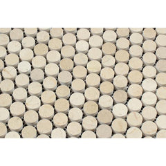 Crema Marfil Penny Round Mosaic Tile Polished