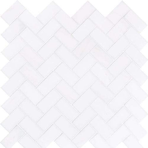 Bianco Dolomite 1x2 Herringbone Mosaic Polished