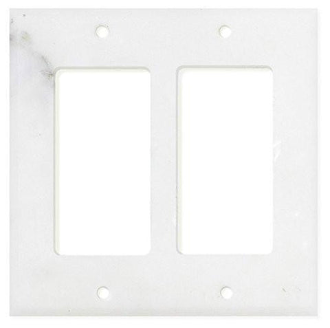 Calacatta Gold Marble Double Rocker Switch Plate Tilezz