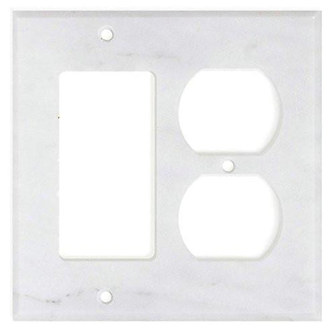 ITALIAN CARRARA WHITE MARBLE ROCKER DUPLEX SWITCH WALL PLATE / SWITCH PLATE / COVER - HONED OR POLISHED