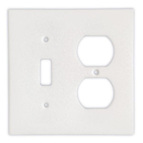 THASSOS WHITE MARBLE TOGGLE DUPLEX SWITCH WALL PLATE / SWITCH PLATE / COVER - HONED OR POLISHED