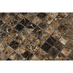 Emperador Dark 1x1 Polished  Mosaic Tile