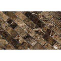 Emperador Dark 1x2 Polished  Brick Mosaic Tile