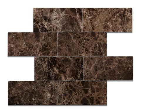 Emperador Dark 3x6 Polished Subway Tile Stone Tilezz