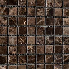 Emperador Dark 5/8x5/8 Polished  Mosaic Tile
