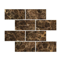 Emperador Dark 6x12 Polished Subway Tile Stone Tilezz