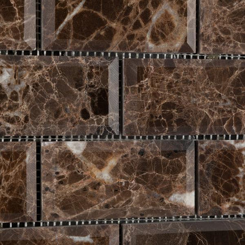 Emperador Dark 2x4 Beveled Polished Brick Mosaic Tile Stone Tilezz