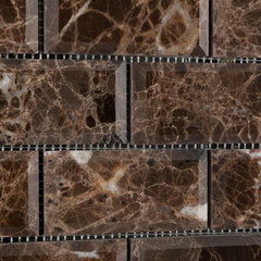 Emperador Dark 2x4 Beveled Polished Brick Mosaic Tile