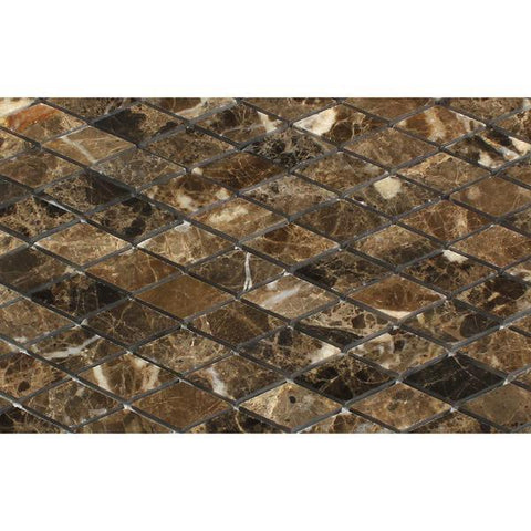 Emperador Dark Diamond Mosaic Tile Polished Stone Tilezz