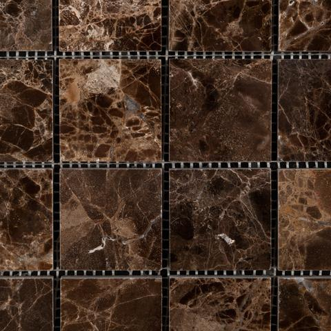 2x2 Emperador Dark Polished or Honed Mosaic Tile