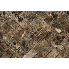 Emperador Dark 1x2 Herringbone Polished  Mosaic Tile