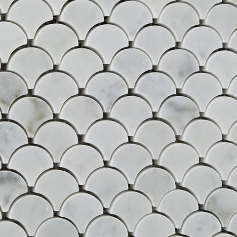 Carrara White Marble Scallop Mosaic Polished/Honed Stone Tilezz