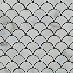 Carrara White Marble  Scallop Mosaic Polished/Honed
