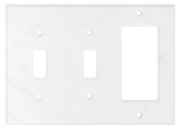 Carrara White Marble Double Toggle Rocker Switch Plate Polished/Honed Tilezz