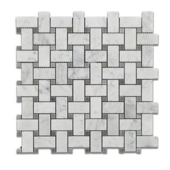 Carrara White Basketweave with Blue Marble Polished/Honed
