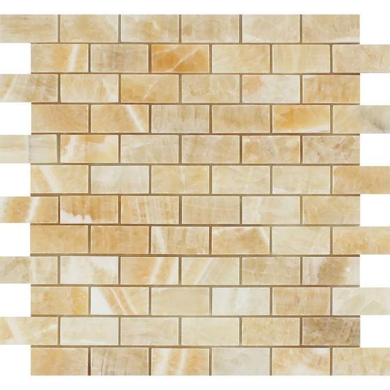 Honey Onyx 1x2 Brick Mosaic Polished Stone Tilezz