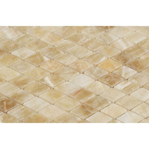 Honey Onyx Diamond Mosaic Polished Stone Tilezz