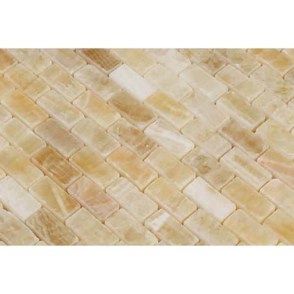 Honey Onyx Mini Brick Mosaic Polished Stone Tilezz