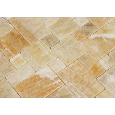 Honey Onyx Mini Versailles Mosaic Polished Stone Tilezz