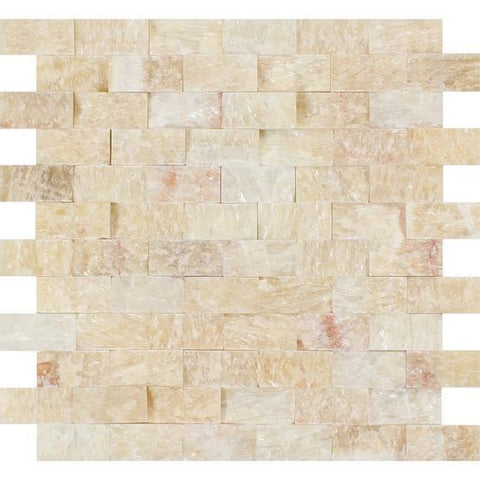 Honey Onyx 1x2 Split Faced Brick Mosaic Stone Tilezz