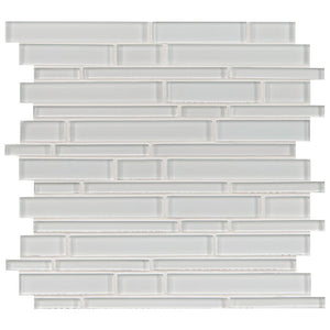 Ice Interlocking Strips Glass Mosaic Tile Tilezz