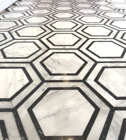 Carrara White Hexagon with Black Marble Polished/Honed Stone Tilezz