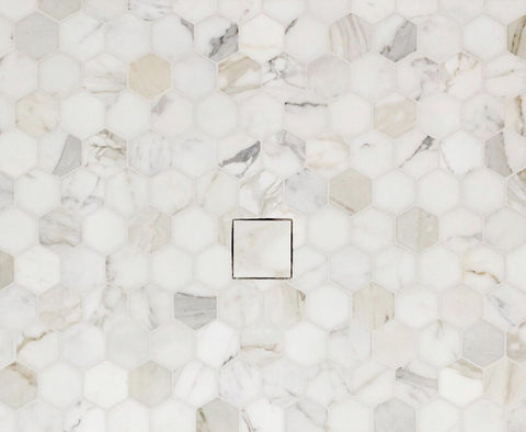 "Calacatta Gold Hexagon 3"" Mosaic Tile Polished & Honed Stone Tilezz"
