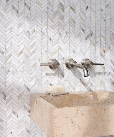 Calacatta Gold Mini Chevron Mosaic Polished/Honed Stone Tilezz