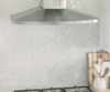 Image of Carrara White Herringbone 1X4 Mosaic Polished/Honed Stone Tilezz