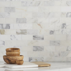 Calacatta Gold 2x4 Marble Subway Tile