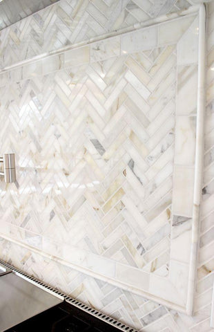 Calacatta Gold Marble 1 X 4 Herringbone Mosaic Polished/Honed