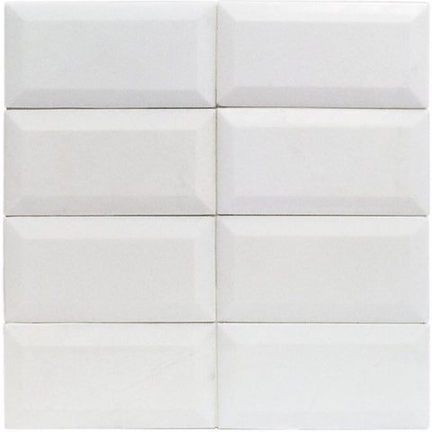 Thassos 3x6 Beveled Subway Tile Polished/Honed