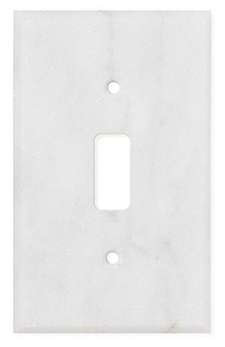 Carrara White Marble Single Toggle Switch Plate Polished/Honed Tilezz