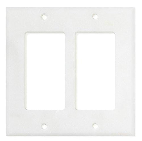 ITALIAN CARRARA WHITE MARBLE DOUBLE ROCKER SWITCH WALL PLATE / SWITCH PLATE / COVER - HONED OR POLISHED
