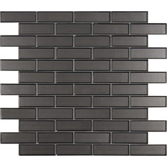 Metallic Gray 2x6 Beveled Glass Subway Tile