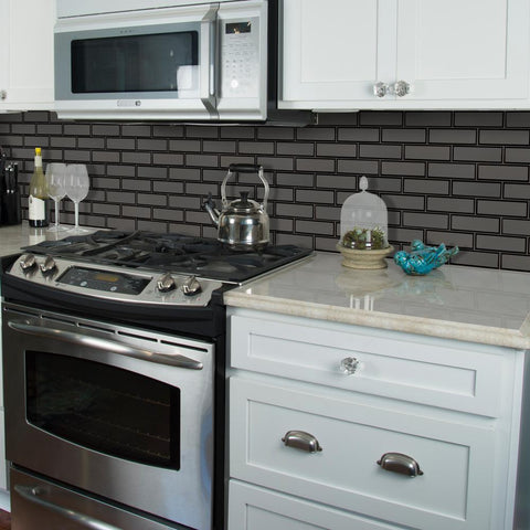 Metallic Gray 2x6 Beveled Glass Subway Tile Tilezz
