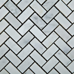 Carrara White Herringbone Mosaic Polished/Honed