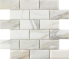 "2""x4"" Calacatta Gold Deep Beveled Brick Mosaic, Polished or Honed"
