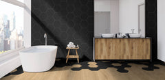 Madrid Black 9x10 Hexagon Matte Porcelain Tile