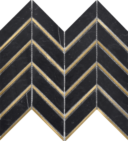 Black + Gold Brass Chevron Marble Mosaic Tilezz