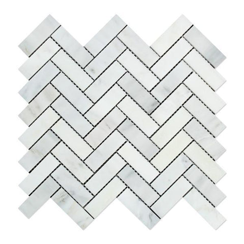 Calacatta Nuevo ( Carrara Bella ) 1 x 3 Herringbone Mosaic Tile  Honed Or Polished