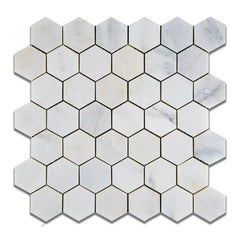 Premium Italian Calacatta Nuevo ( Carrara Bella ) 2x2  Hexagon Polished Or Honed Mosaic